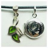Sterling Silver Leaf & Locket Pendant Necklace