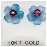 10K Garnet Chalcedony Flower Earrings