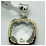 Brass White Topaz Pendant