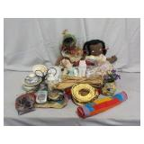 (4) Cloth Dolls, Stained Glass Window, & More