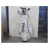 """Ping"" Golf Bag With 12 Clubs"