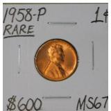 1958 P Wheat Copper Penny MS67