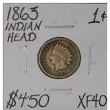 1863 Indian Head Penny XF 40