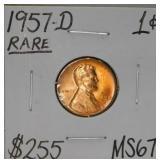 1957 D Wheat Copper Penny MS67