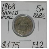 1868 Shield Nickel F12