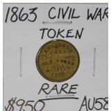 1863 Civil War Token RARE AU58