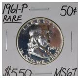 1961 P Franklin Silve Half Dollar MS67