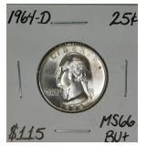 1964 D MS66 BUt Quarter