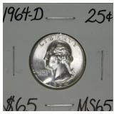 1964 D Washington Silver Quarter MS65