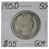 1915 D Barber Silver Half Dollar G04