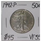 1942 P Walking Liberty Silver Half Dollar VF35