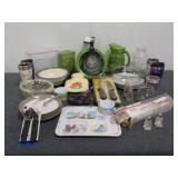 Kitchen Glassware Green Pitchers, Utensils, Plates
