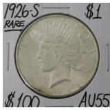 1926 S Peace Silver Dollar AU55