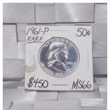 1961 P Franklin Silver Half Dollar MS66