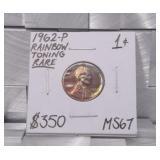 1962 P Memorial Copper Penny MS67