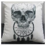 Throw Pillow with Skull & Dream Catcher Theme