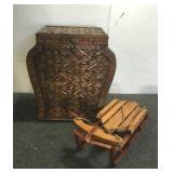 Decorative Wicker Basket & Sled
