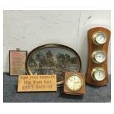 (2) Antique Clocks &  Assorted Decor