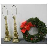 (2) Light Stands & Wreath