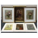 (2) Framed Flower Paintings & Religious Painting