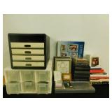 Assortment Of Books, Frames & Office Organizers