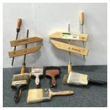 (2) Hand Clamps and Assortment of Paint Brushes
