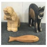 Carved Wood Decor-Pig, Car, Fish