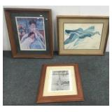 (3) Wood Framed Pictures