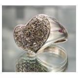 Valued: $2,499, 1.07 Carat Diamond Heart Ring