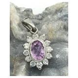 $1850 14K  Sapphire/Diamond Pendant