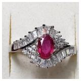 $200 Silver Ruby( ct) Ring