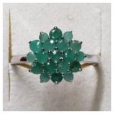 $160 Silver Emerald(1.2ct) Ring
