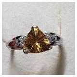 $1560 10K  Citrine Quartz/ Diamond(0.08ct) Ring