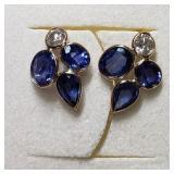 $2300 14K  Blue Sapphire/Diamond(0.4ct) Earrings