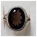 $100 Silver Smokey Quartz(7ct) Ring