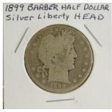 1899 Barber Liberty Head Silver Half Dollar