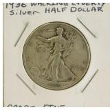 1936 Walking Liberty Silver Half Dollar (Grade