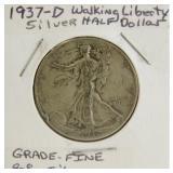 1937-D Walking Liberty Silver Half Dollar (Grade