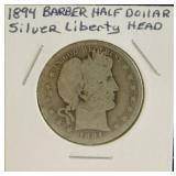 1894 Barber Liberty Head Silver Half Dollar