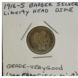 Barber Liberty Head Silver Dime San Francisco Mint