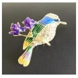 Colorful Flower Bird Pin