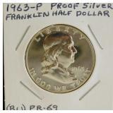 1963-P Proof Silver BU PR-69 Franklin Half Dollar