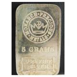 5 Grams .999 Fine Silver Bar Monarch Precious