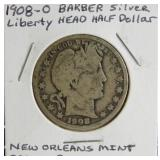1908-O Barber Liberty Head Silver Half Dollar