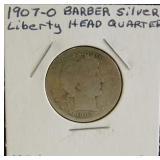 1907-O Barber Liberty Head Silver Quarter Dollar