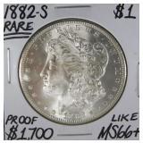 1882 S Rare Morgan Dollar MS66+ (AI)