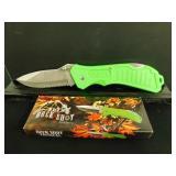 Box of (6) Green, Serreted Med-Lg Pocket Knives
