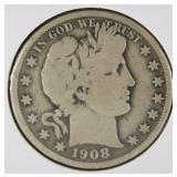 1908 Barber Half Dollar VG8