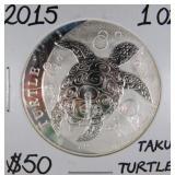 2015 1 OZ Silver Taku Hawksbill Turtle Coin