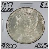 1897 Rare Morgan Dollar MS65+ (B1)